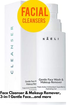 (This is an affiliate pin) Face Cleanser & Makeup Remover, 3-in-1 Gentle Face Wash, SuperBerry Antioxidant Hydrating Gel, Evens Skin Tone & Brightens Complexion For Women and Men, 4 oz. Dry Sensitive Skin, Facial Cleansers, Even Skin Tone, Rosacea, Face Cleanser, Alcohol Free, Face Wash, Makeup Remover
