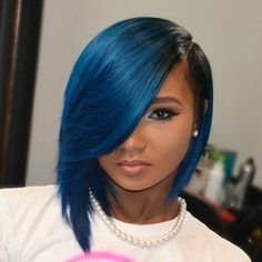 Blueberry Blue Bob Fantasy Hair 12 Inches Custom Lace Front Wig by... ($126) ❤ liked on Polyvore featuring beauty products, haircare and hair styling tools