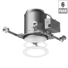 Halo E26 Series 6 In White Recessed Lighting Housing For New Construction Ceiling And Tapered Baffle Trim Kit Pack