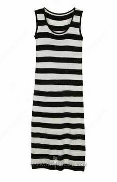 Black White Striped Round Neck Sleeveless Long Dress