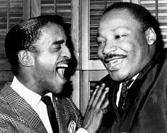 Martin Luther King sharing a laugh with Sammy Davis Jr. in Davis' dressing room, backstage. and Martin Luther King Dr Martins, Sammy Davis Jr, Cultura General, People Of Interest, Celebrity Gallery, African Diaspora, Dean Martin, King Jr, Before Us