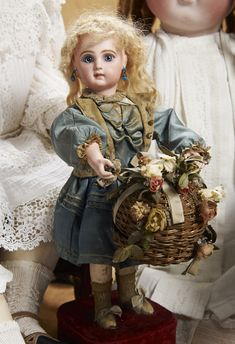 "French Bisque Musical Automaton ""Little Girl with Surprise Basket"" by Lambert 6000/8000 Auctions Online 