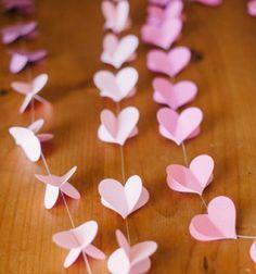 DIY easy dimensional paper heart garland - wedding decor // Egyszerű térbeli papír szív füzér - esküvői dekoráció // Mindy - craft tutorial collection
