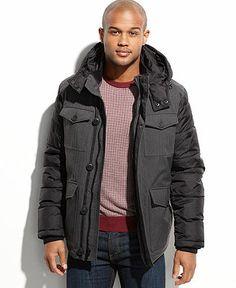 Tommy Hilfiger Coat, Herringbone Mixed Media Hooded Puffer Coat - Coats & Jackets - Men - Macy's