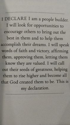 I DECLARE: THIS IS WHO I AM! from, Joel Osteen's Book: 'I Declare'