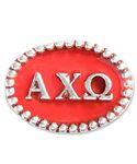 Alpha Chi Omega Beaded Spacer - beaded spacer with lyre on it enameled in scarlet and olive green.  ~ ArmyBraceletLady@aol.com #alphachiomega #alphachi