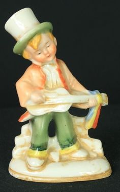 Vintage ceramic figure man with top hat playing a banjo in Collectibles, Decorative Collectibles, Figurines | eBay