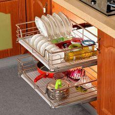Kitchen Pantry Pull Out Sliding Shelf Basket Drawer Storage Cabinet Organiser US #Unbranded