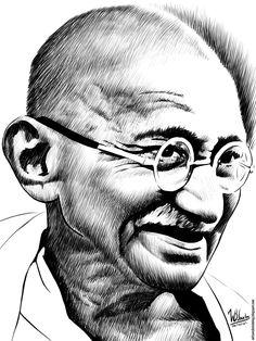 Ink drawing of Mahatma Gandhi Abstract Pencil Drawings, Pencil Portrait Drawing, Portrait Sketches, Cool Art Drawings, Art Drawings Sketches, Portrait Art, Portrait Illustration, Mahtma Gandhi, Mahatma Gandhi Photos