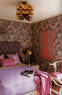 Sexy bedroom design by Kelly Wearstler. Beautiful color scheme of grayish purples paired with pinks and deep purples - accented with gold/brass accessories. Home Bedroom, Bedroom Wall, Bedroom Decor, 60s Bedroom, Design Bedroom, Bed Room, House Design Photos, Home Design, Floor Design