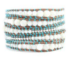 Chan Luu - White MOP Graduated Wrap Bracelet with Turquoise Thread, $230.00 (http://www.chanluu.com/wrap-bracelets/white-mop-graduated-wrap-bracelet-with-turquoise-thread/)
