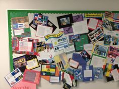 Spanish classroom bulletin board of postcards, created by students, from Spanish countries.
