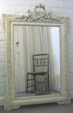 Roses and Rust: Monday Musings - Reflecting on Mirrors French Mirror, Ornate Mirror, Venetian Mirrors, Antique Mirrors, Painted Mirrors, Spiegel Design, Blue Shabby Chic, Mirror Box, Mirror Painting