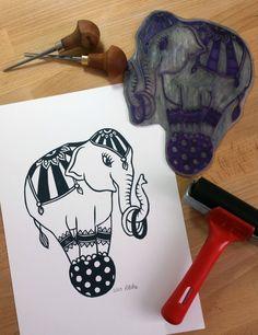 Handmade lino print Limited Edition Circus by KimrhiStudios