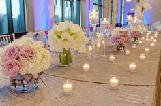 Northern Greenhouses #Wedding #Engagement Party Collection of vases at head table @ Westin, Lombard