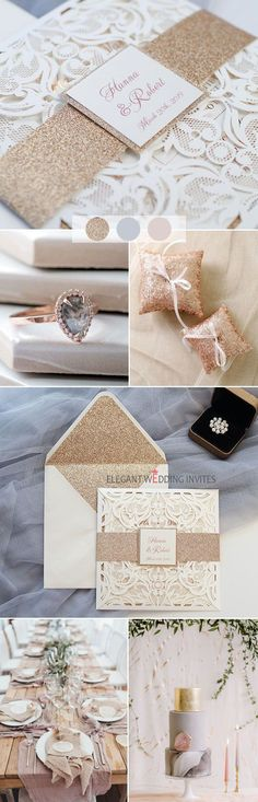 Luxury Rose Gold Foil Pressed Laser Cut Wedding Invites with Glittery Bottom Card and Belly Band EWTS038