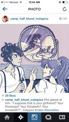 Leo Valdez and Calypso looking in the mirror showing Reyna Magnus Chase, Solangelo, Percabeth, Leo And Calypso, Oncle Rick, Daughter Of Poseidon, Team Leo, Rick Y, Trials Of Apollo