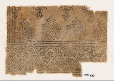 Textile fragment with tendrils forming interlacefront