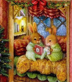 Petits lapins lisant des histoires de Noël