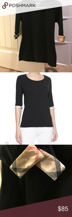 Burberry 3 quarter sleeve Tee Great condition...Scoop neck, 3 quarter tee, cotton/elastane, Black with checked roll up sleeves, worn and washed once Burberry Tops
