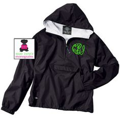 MONOGRAMMED Adult Unisex Pullover Wind Jacket - Water Resistant - Flannel Lined