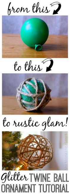 DIY Glitter Twine Ball Ornament