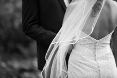 Love the button-up back of this lace, strapless wedding gown- Anna Kim Photography