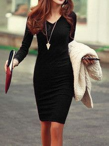 little black dress, sexy dress, long sleeve dress, midi dress, bodycon dress - Lyfie