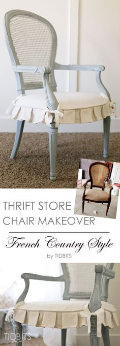 Thrift Store Chair Makeover   French Country Style - TIDBITS