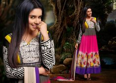Elegant and Graceful Printed Georgette Party Wear Anarkali Suit in Pink,Purple & Yellow With Grey & Black Combination. Comes along with Santoon bottom and matching chiffon dupatta.