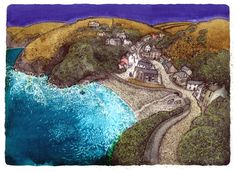 Chris Neale Studio - signed limited edition art prints and original artwork Little Haven, Graphic Eyes, Naive Art, Contemporary Landscape, Print Artist, Altered Art, Home Art, Amazing Photography, Landscape Paintings