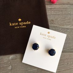 NWT  Kate Spade NAVY Gumdrop Studs Dark navy blue and gold - hard to show navy in photo. Dust bag included. Firm price. No trades. kate spade Jewelry Earrings