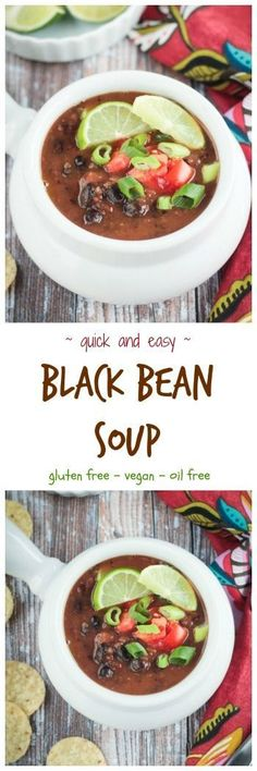 Easy Black Bean Soup - made with pantry ingredients and ready in just 30 minutes. This cozy  meatless soup is hearty and delicious and sure to become a family favorite. My kids love it with macaroni noodles. #vegan #glutenfree #soup #blackbeans via @veggieinspired