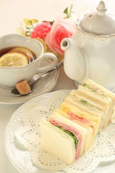 Afternoon tea and sandwich