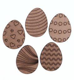 Kit de Recorte de MDF Coleção Páscoa - Ovos Desenhados - 5cm - com 5  unidades 6980b7448e1