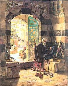 "Gustav Bauernfeind (1848-1904) ~  ""Portal of Great Mosque, Damascus"""