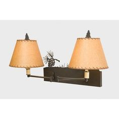 Steel Partners Pinecone Double Swing Arm Wall Lamp Finish: Rust, Shade / Lens: Bungalow Green