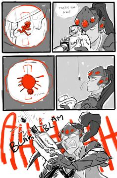 "😂 I love how the spider says ""Aye lmao"" Overwatch Funny Comic, Overwatch Memes, Overwatch Widowmaker, Overwatch Fan Art, Overwatch Wallpapers, Video Game Memes, Video Games, Nerd, Video Game Characters"