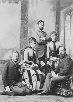 Anglophilia & Elegance - teatimeatwinterpalace:    Louis IV Grand Duke of Hesse with his two eldest daughters, Princess Victoria with her husband Prince Louis of Battenberg and Princess Elisabeth of Hesse with her future husband Grand Duke Serge Alexandrovich, March 1884, three months before their wedding..