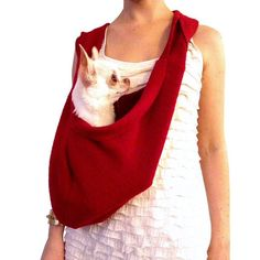 Pet travel bag red scarf sling carrier small dog tote by HeartPup, $118.00
