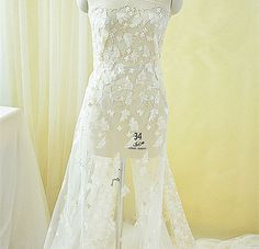 Ivory Wedding Lace Fabric Champagne Embroidery Bridal by LaceNTrim