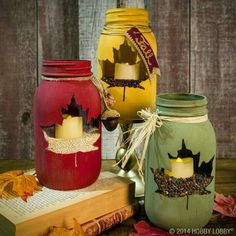 Leaf print mason jar candles