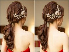 Read information on classic wedding hair Korean Wedding Hair, Asian Bridal Hair, Classic Wedding Hair, Bridal Hairdo, Hairdo Wedding, Asian Hair, Wedding Hair And Makeup, Wedding Ponytail Hairstyles, Bride Hairstyles
