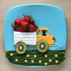 48 ideas food truck art fun for 2019 Food Art For Kids, Cooking With Kids, Cute Snacks, Cute Food, Funny Food, Toddler Meals, Kids Meals, Childrens Meals, Creative Food Art