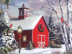 christmas barn, love red barns!! ( & red birds)
