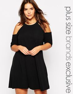 568711c7e2b Pink Clove Cold Shoulder Swing Dress at asos.com. Size 20 DressesPlus Size  OutfitsSexy ...