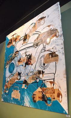 VW Kever - Kunst aan de muur in Café Boeien Katwijk aan Zee