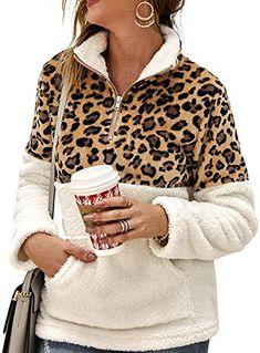 New ALLUMK Womens Long Sleeve Zipper Leopard Sweatshirt Color Block Patchwork Fleece Pullover Outwear Coat Pockets Pocket online shopping - Findandbuy Collared Sweatshirt, Sweater Hoodie, Leopard Print Jacket, Half Zip Pullover, Sweatshirts, Sleeves, Long Sleeve, Scrappy Quilts, Sweatshirt