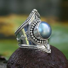 Cultured pearl cocktail ring, 'Faithful' - Sterling Silver and Pearl Cocktail Ring