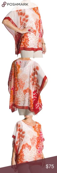"""Red Floral Multi Midori Poncho Top This poncho instantly catches your eye with its exotic print. It was inspired by a trip to the Japanese garden in Chicago's Botanical Gardens. Pull-on styling with flowy caftan sides and sleeves. Sheer fabric is perfect for layering. Length: 30"""". Polyester. Item looks exactly as pictured. New without tags! Chico's Tops"""